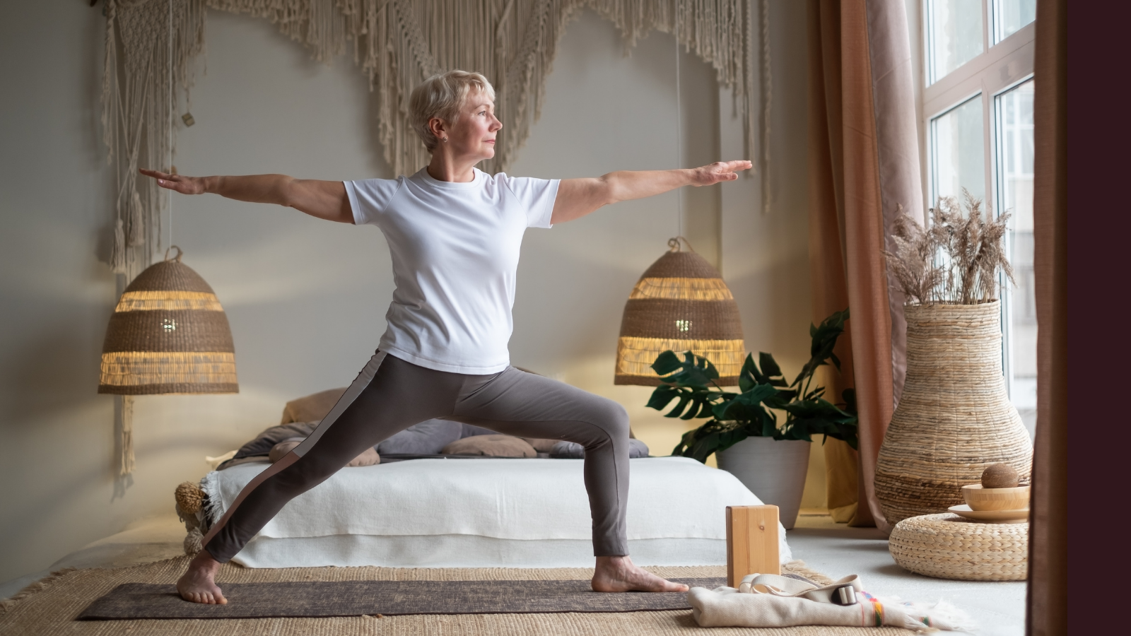 Tips for practicing yoga in Warrior II pose (Virabhadrasana II) and all exercise mindfully