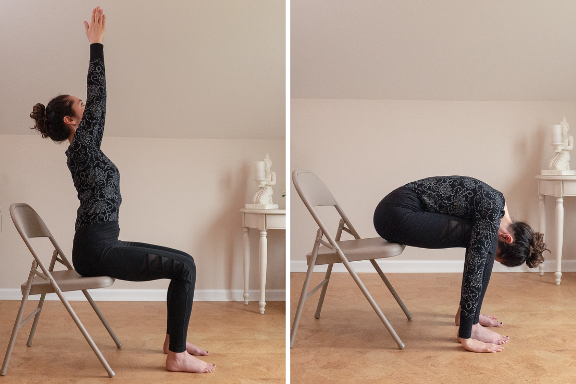 Yoga woman seated practicing sun salutations stretching arms over head and then bending forward