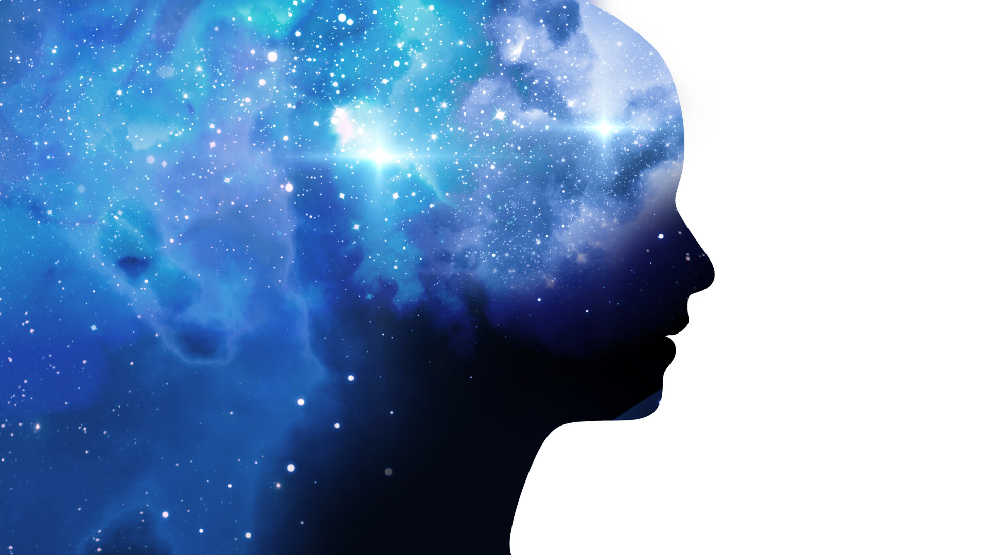 Water color illustration of human profile connected to the universe.