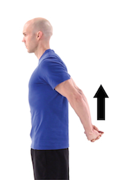 man practicing a shoulder stretch with arms clasped behind his back to relieve neck pain