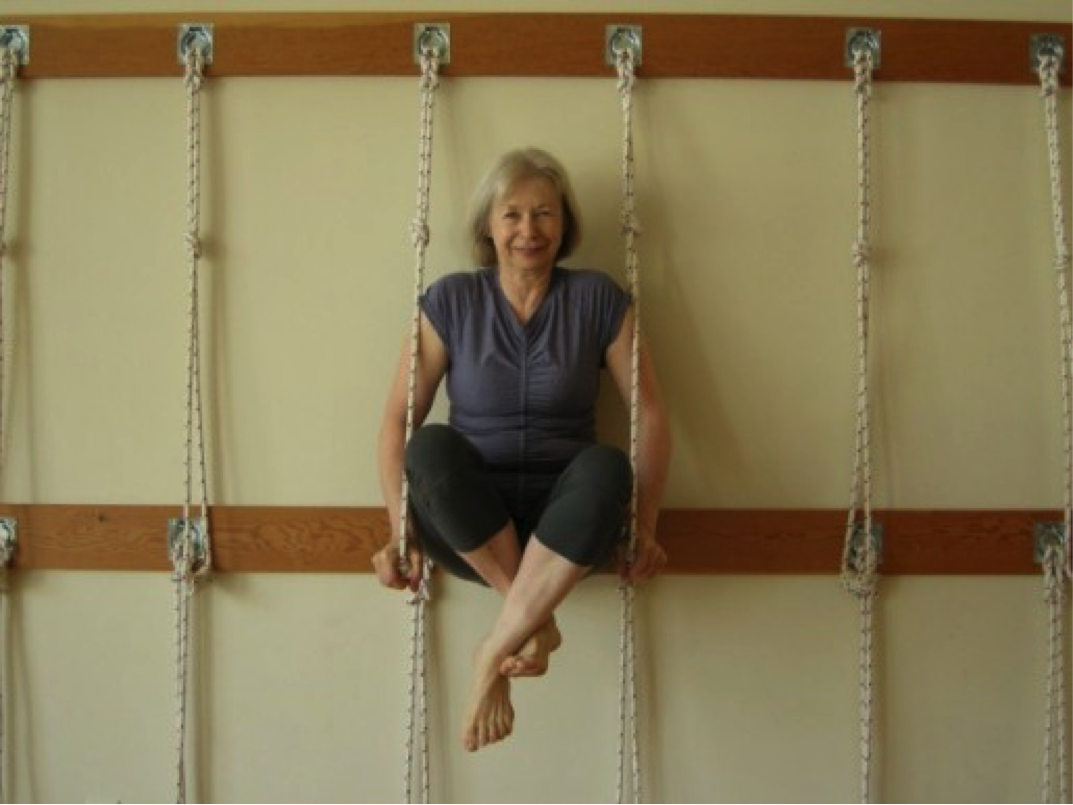Woman doing a challenging yoga pose, Lolasana, to develop arm and core strength, practicing yoga and ropes