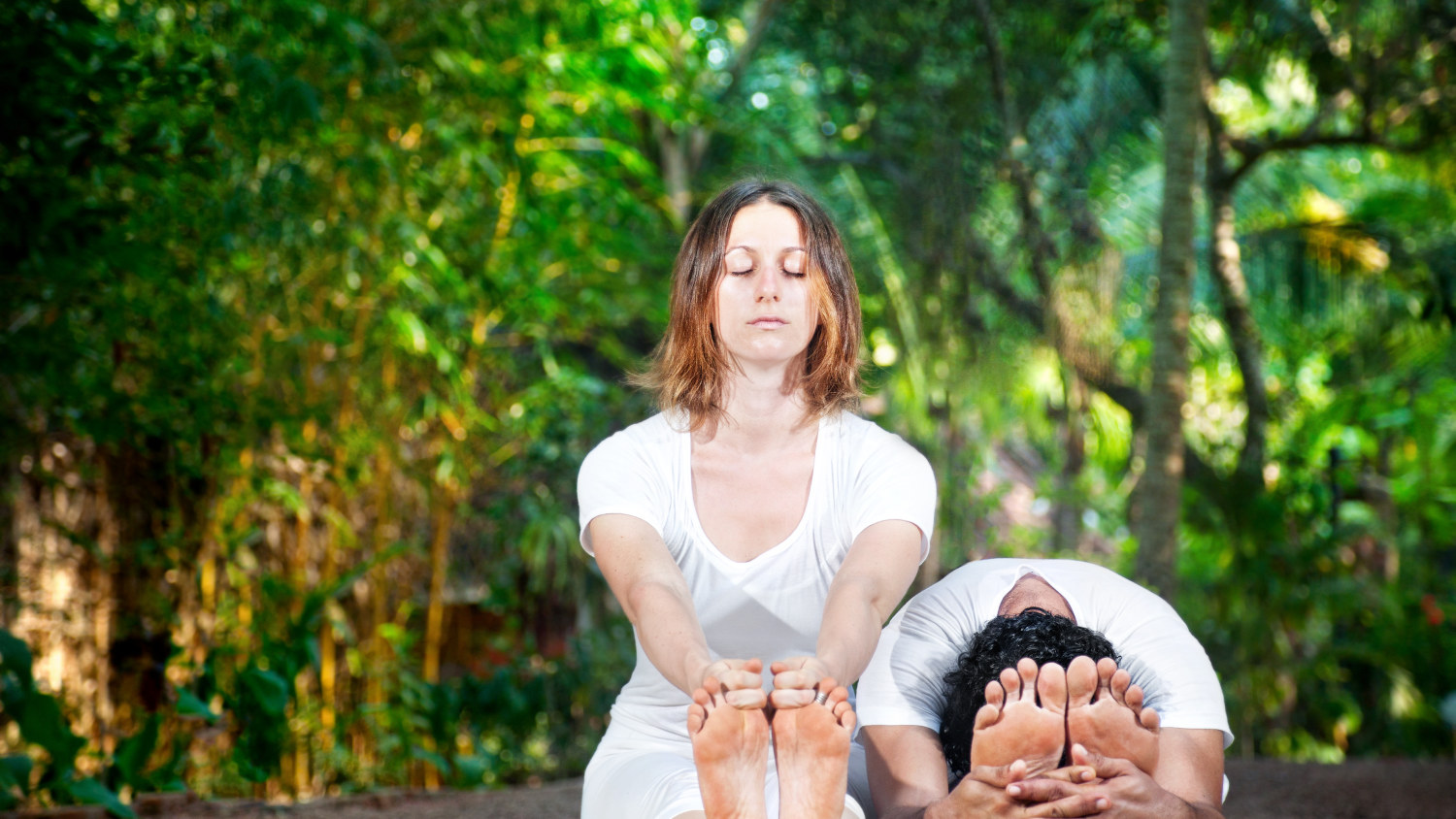 Yoga practice in nature,forest bathing and yoga, health benefits of nature on heath and well-being