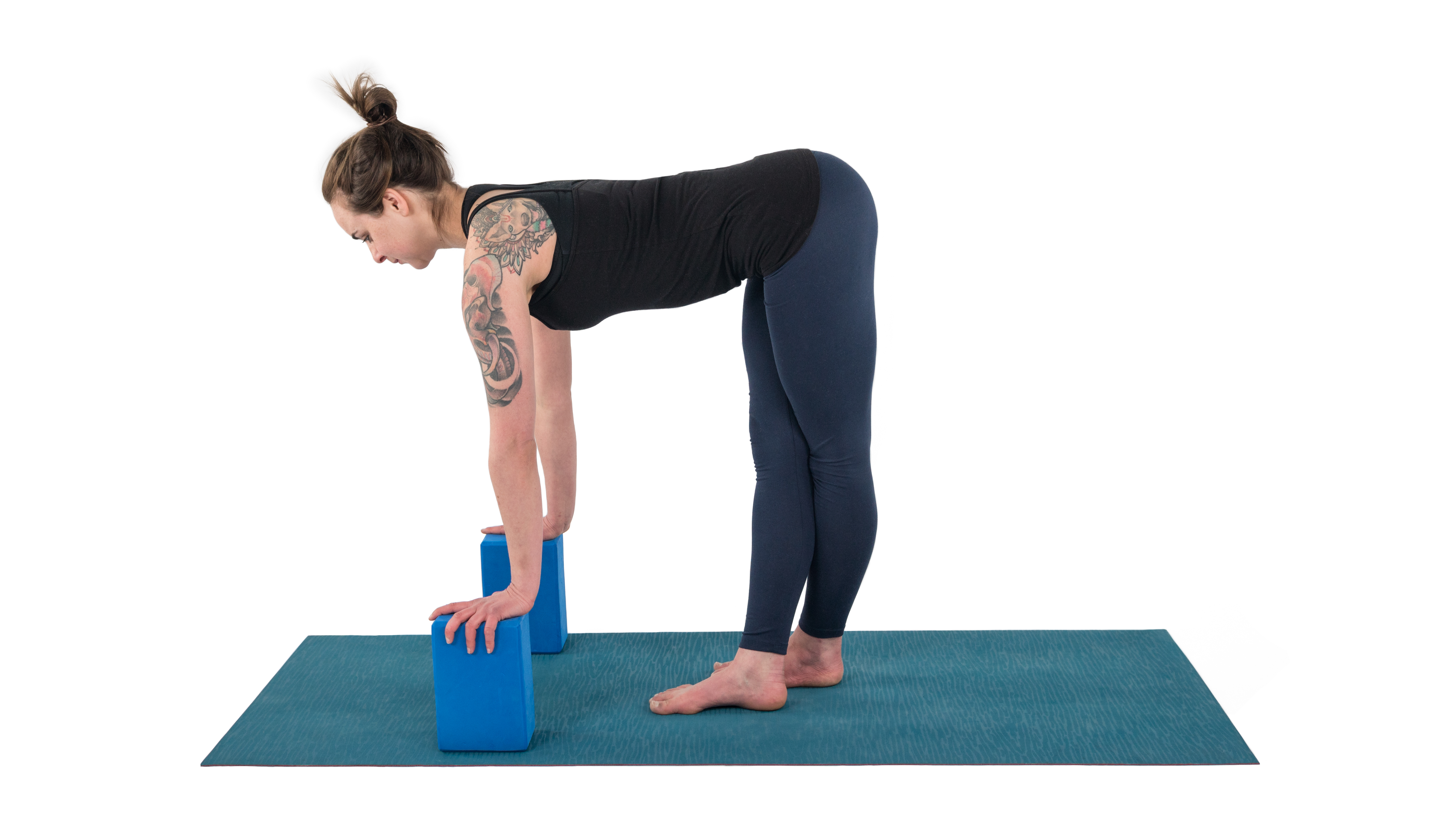 gomukhasana runner stretch with blocks