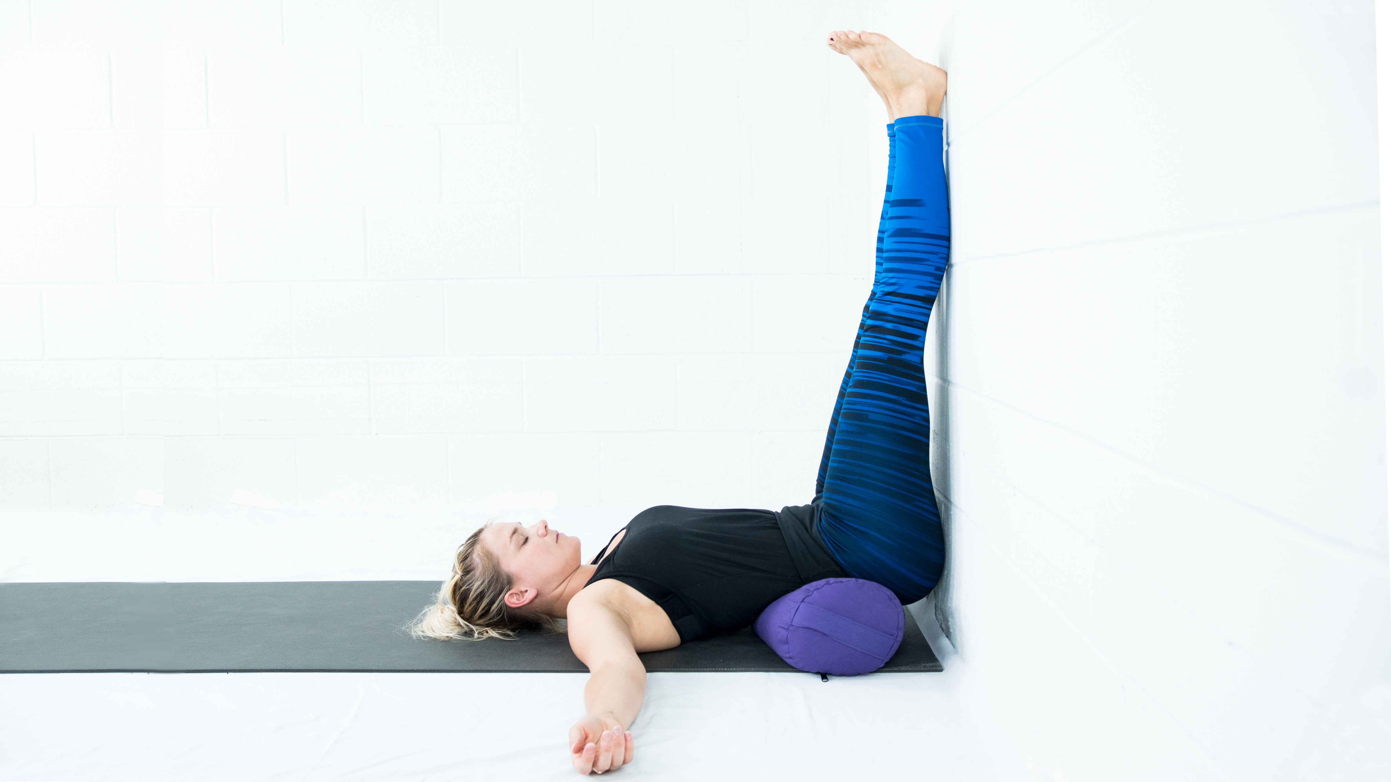 Legs up the wall pose, restorative yoga, yoga with props, yoga to control high blood pressure