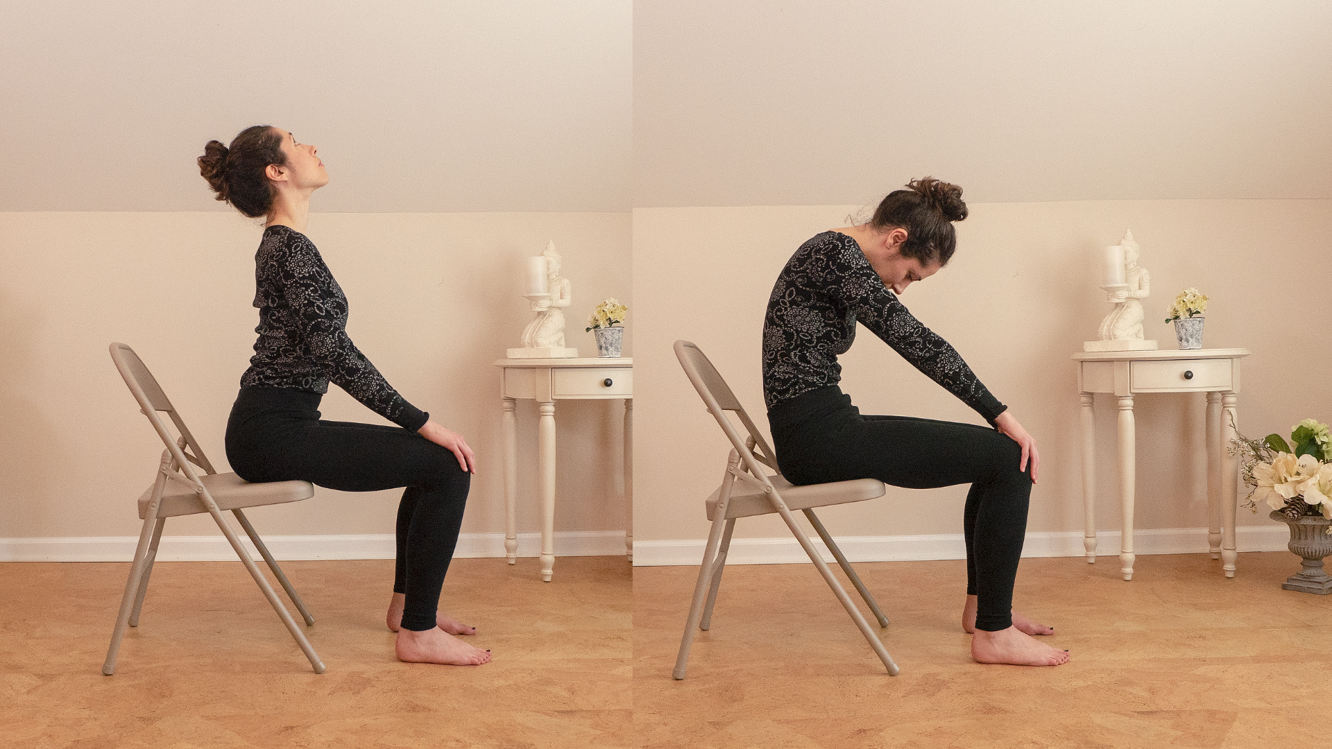Woman practicing yoga cat cow in a chair.