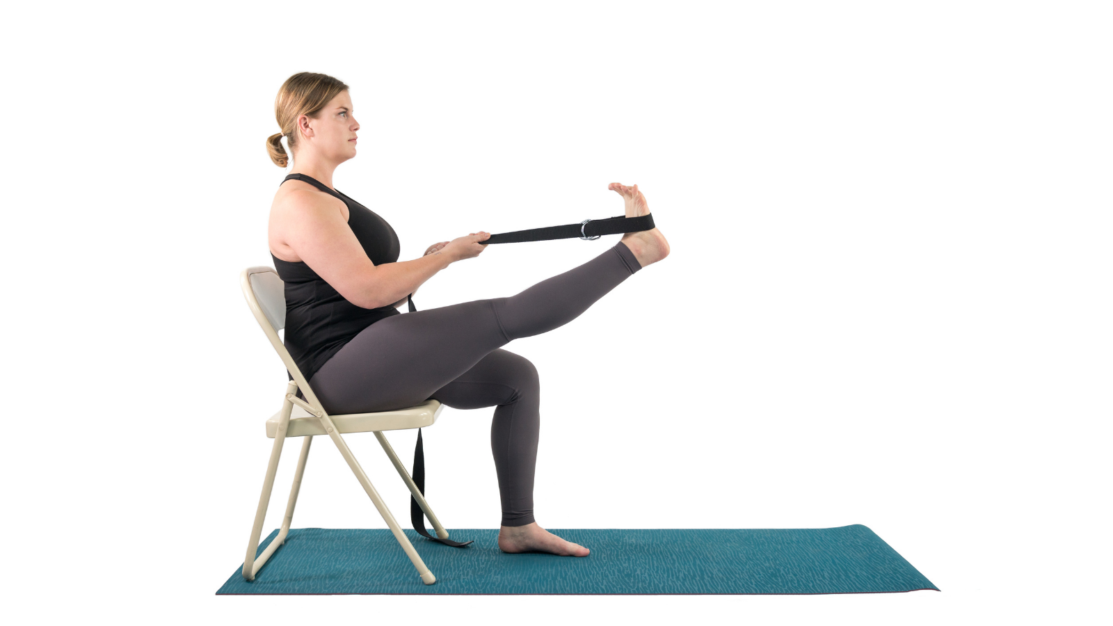 Beginner tips to practice Extended Hand to Toe Pose (Utthita Hasta Padangusthasana) in a chair