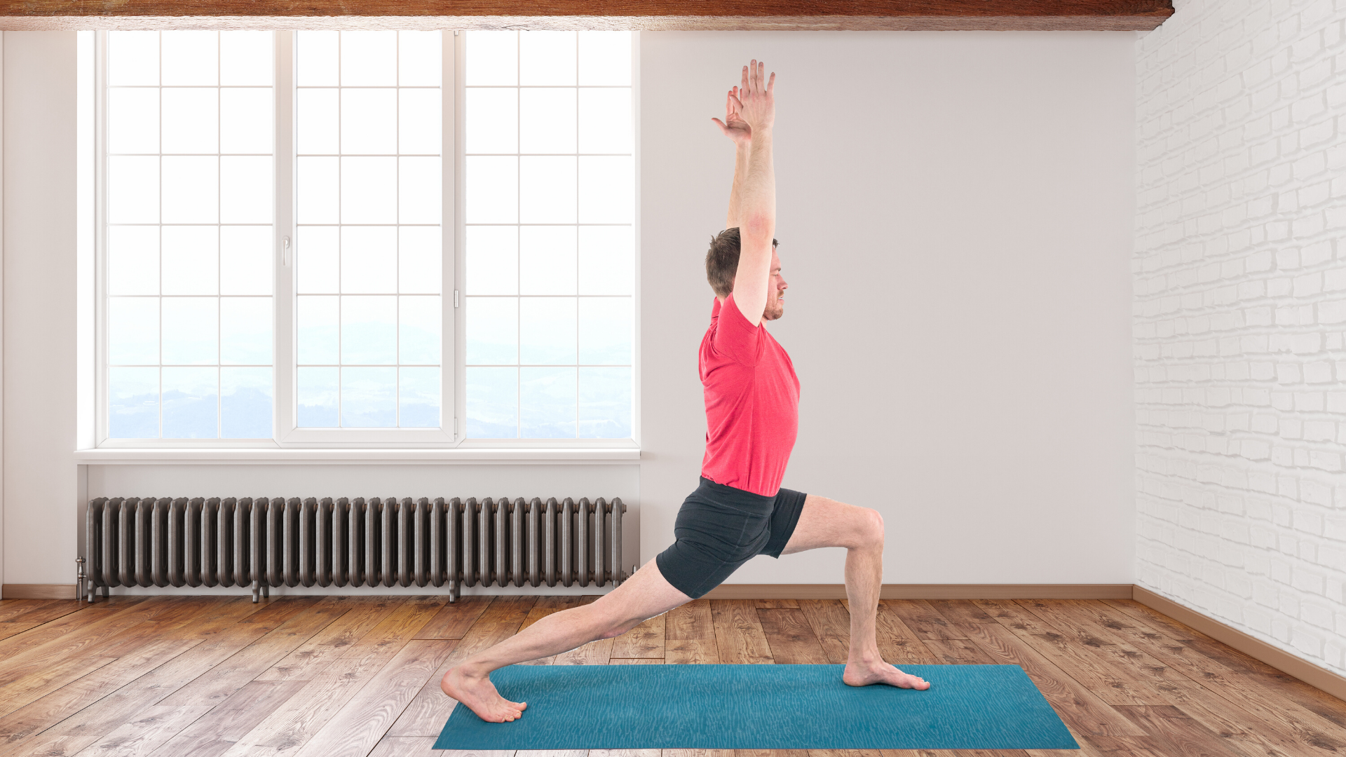 Man practicing yoga crescent lunge pose.