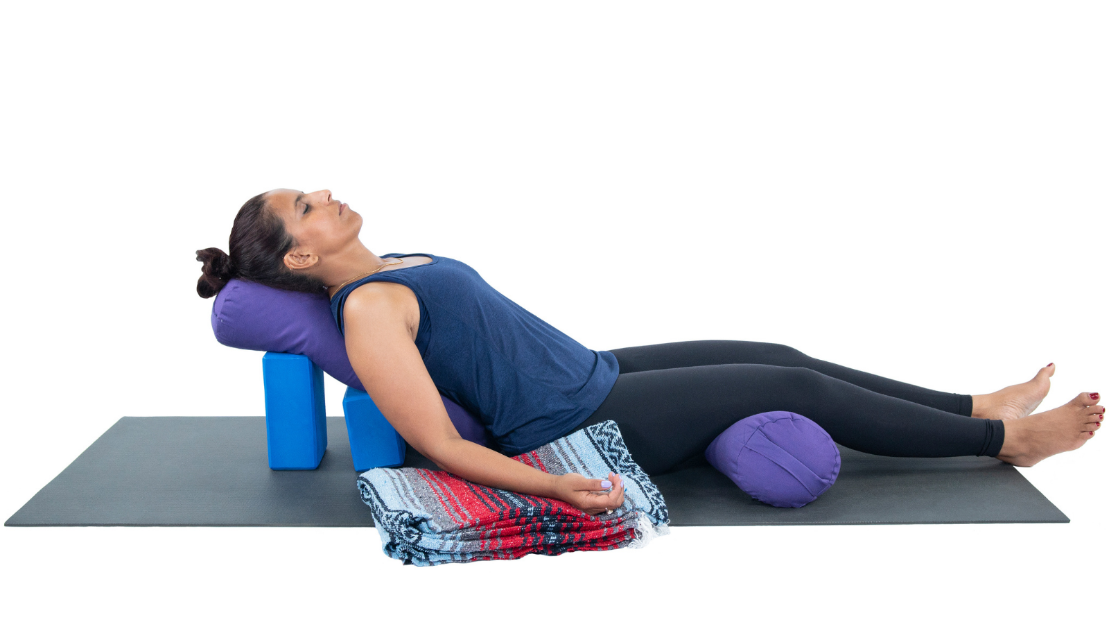 How to practice Corpse Pose or Savasana with many props for comfort and a trauma-informed practice