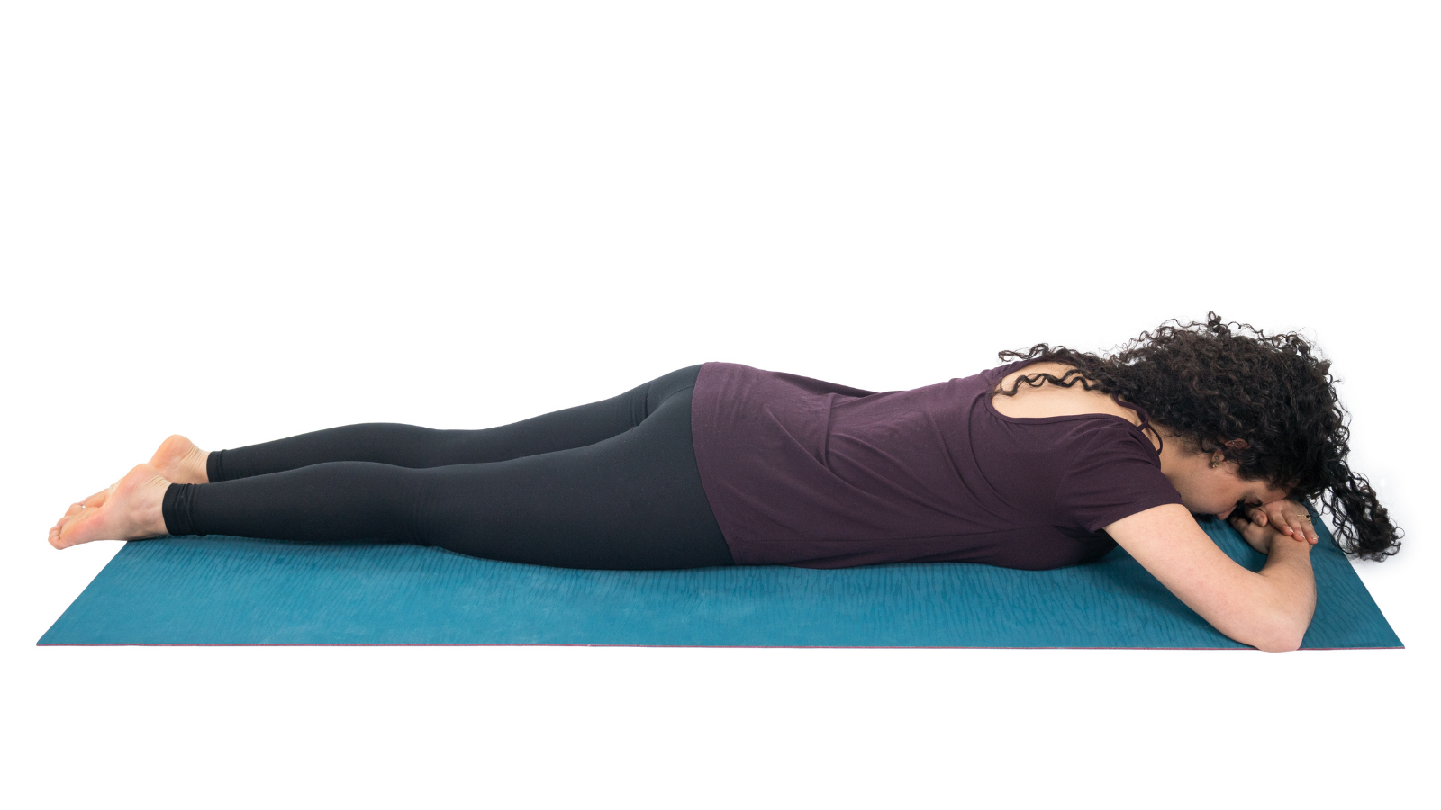 How to practice Corpse Pose or Savasana on your belly recommended for trauma-informed Savasana