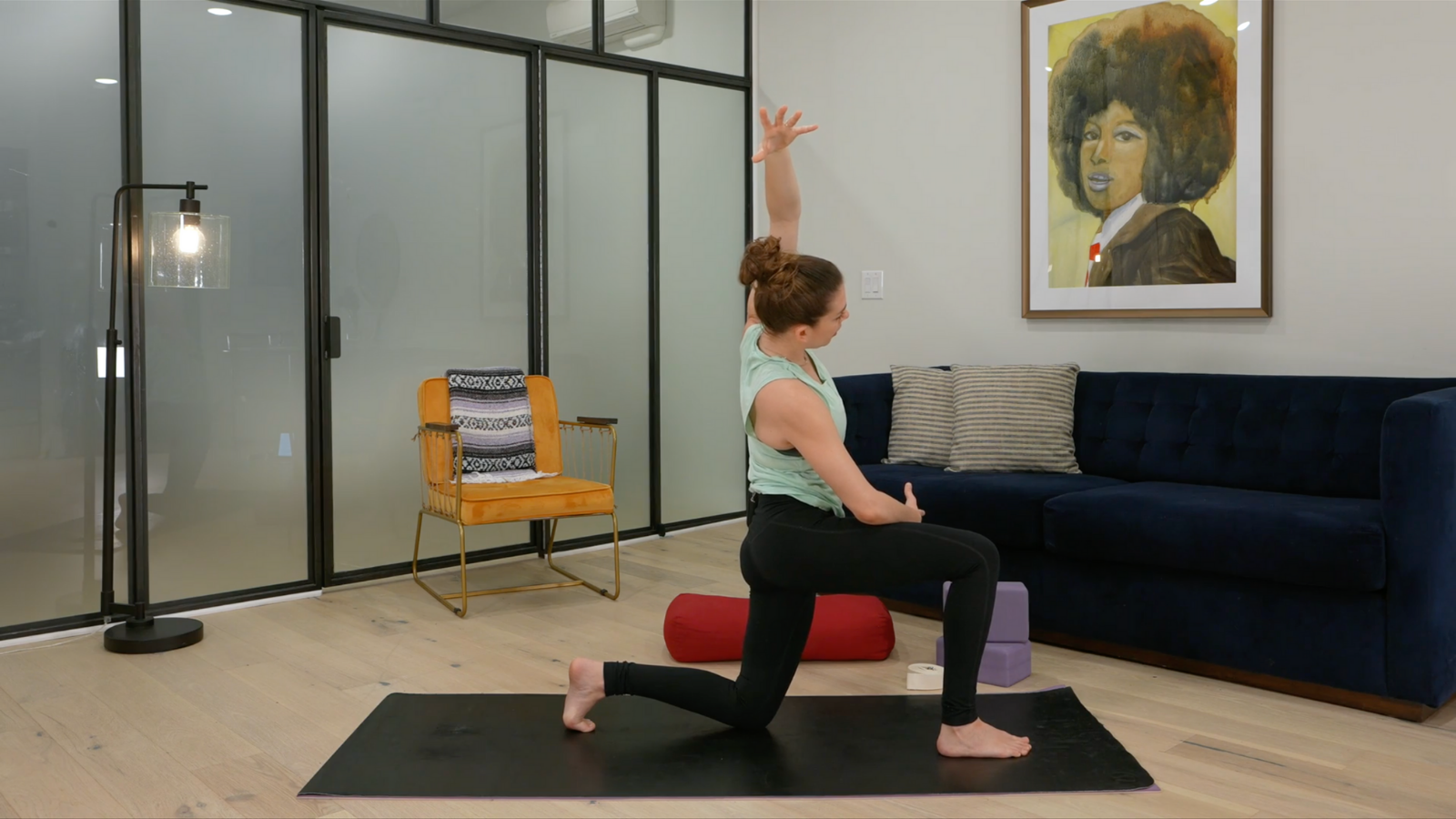 Posterior pelvic tilt lunge targets the full psoas by posteriorly tilting the pelvis and adding a side-body stretch