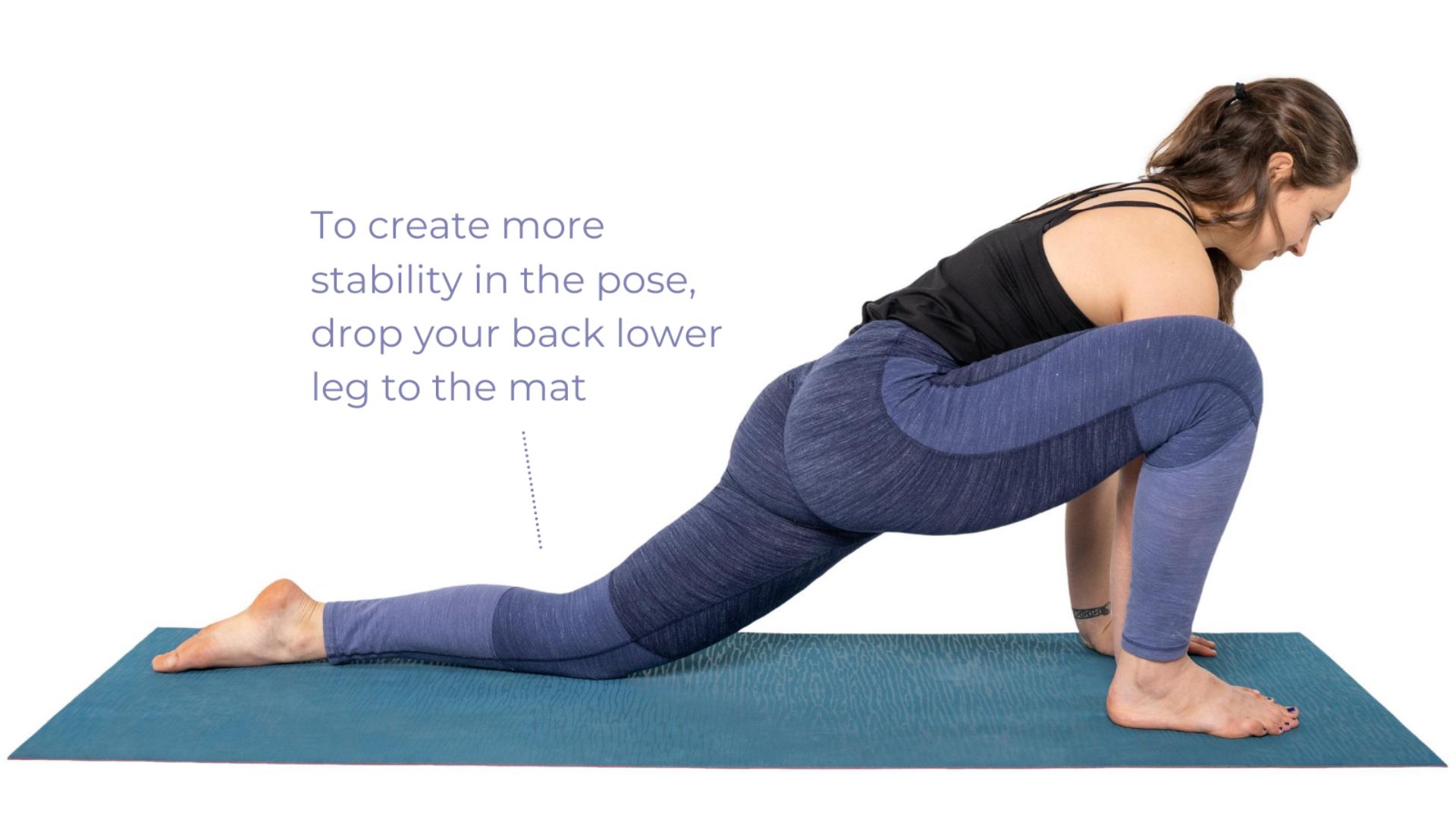 The benefits of practicing Lizard Pose (Utthan Pristhasana) by lowering your back knee for more comfort