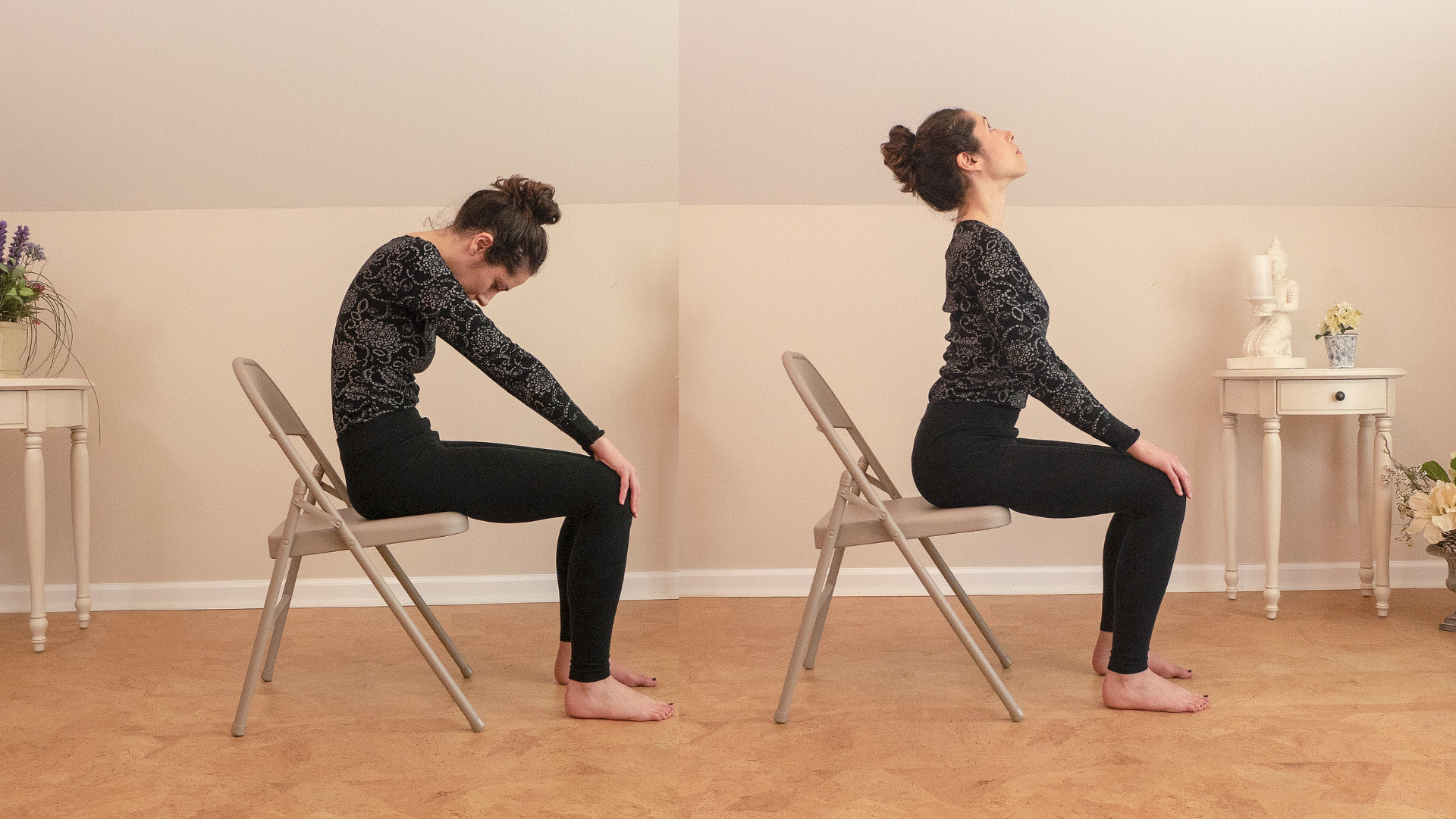 Woman practicing chair yoga cat-cow flow.