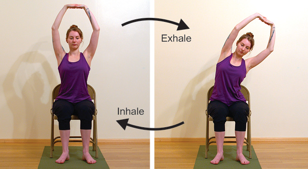 Chair yoga variations of foward folds for improving posture