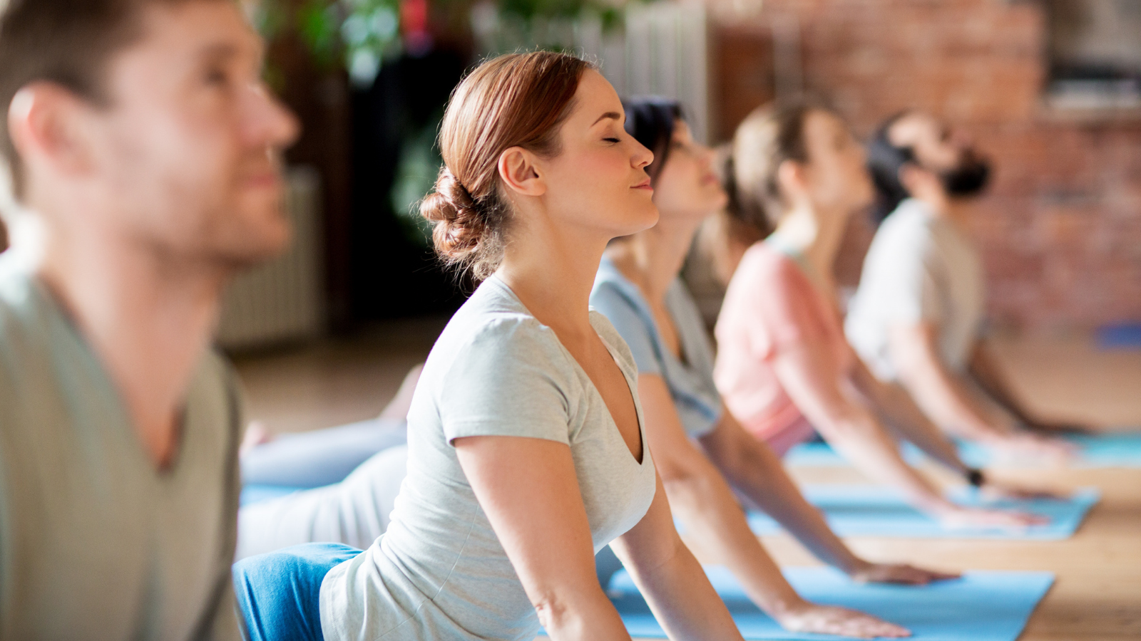 Fitness, yoga and healthy lifestyle illustrated by a group of people doing Cobra Pose on mats at a yoga studio