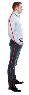 man with poor posture, spine out of line, needs spinefulness, hips forward posture