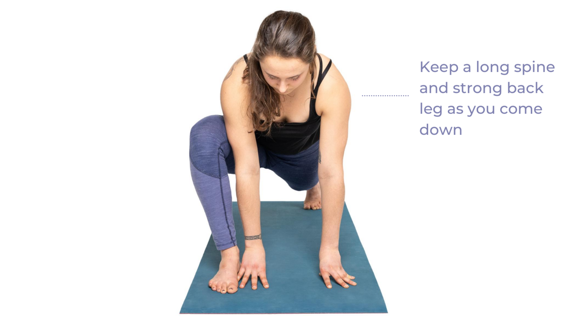 Yoga teaching tips to activate your lower body in Lizard Pose (Utthan Pristhasana) for stability and enjoyment