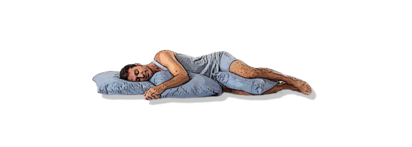 Lying on your side with props to support you in Side-Lying Savasana