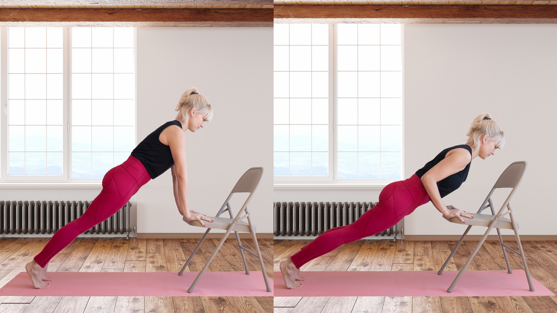 Female yoga student practicing plank and chaturanga with chair.