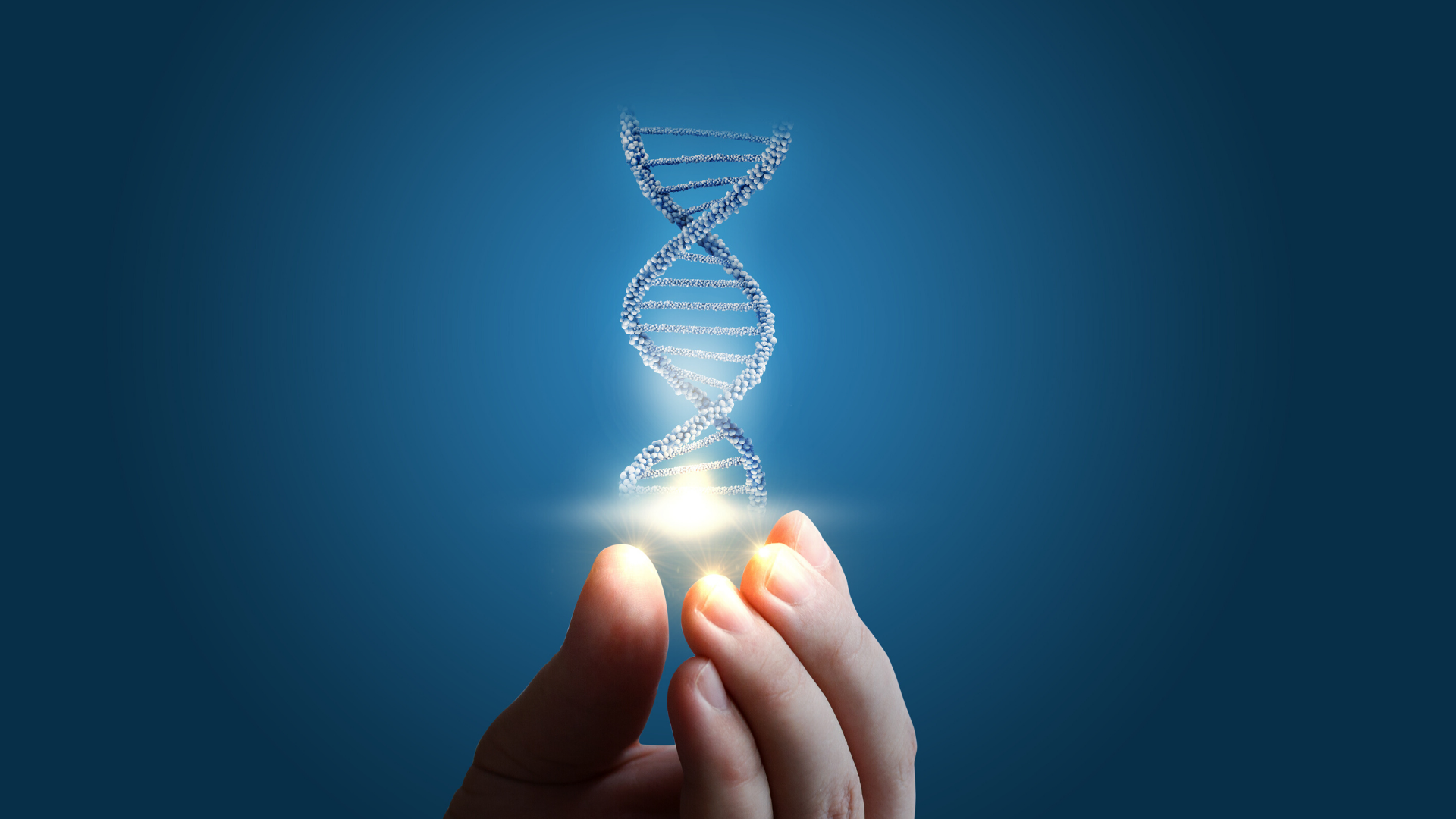 Illustration of hand holding double helix of DNA.