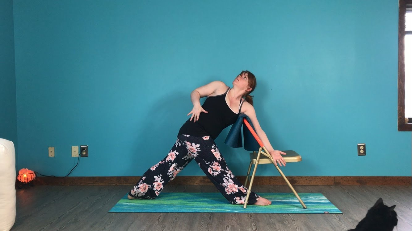 Parivritta Trikonasana, Revolved Triangle Pose, Chair as Prop, Pose Variations, Props in Yoga, using props in different ways