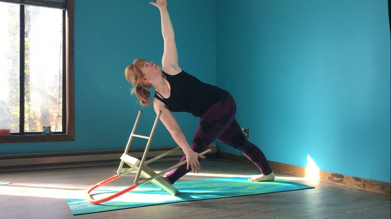 Parivritta Trikonasana, Revolved Triangle Pose, Chair as Prop, Pose Variations, Props in Yoga