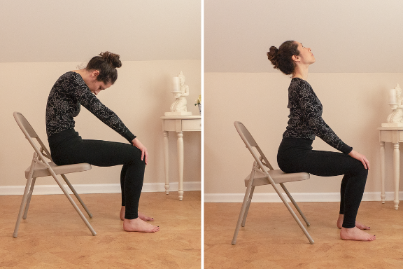 Woman practicing Cat and Cow Yoga Poses in a Chair