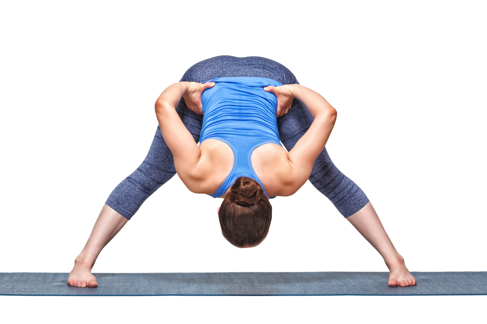Wide, Legged, Standing, Forward, Fold, grounding, standing, asana, symmetrical, stance, yoga, stretch, inversion, decompress the spine, beginner, Prasarita, Padottanasana, A