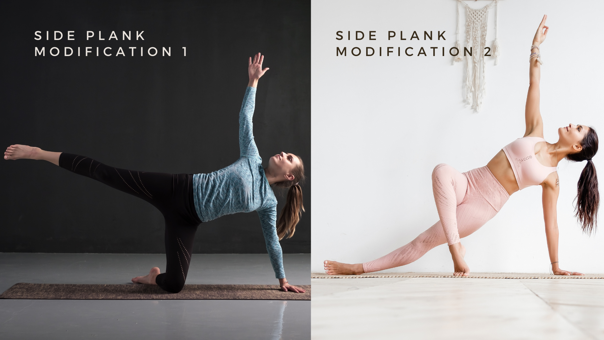 beginner yoga student demonstrating how to practice modifications of vasisthasana (also known as side plank pose)