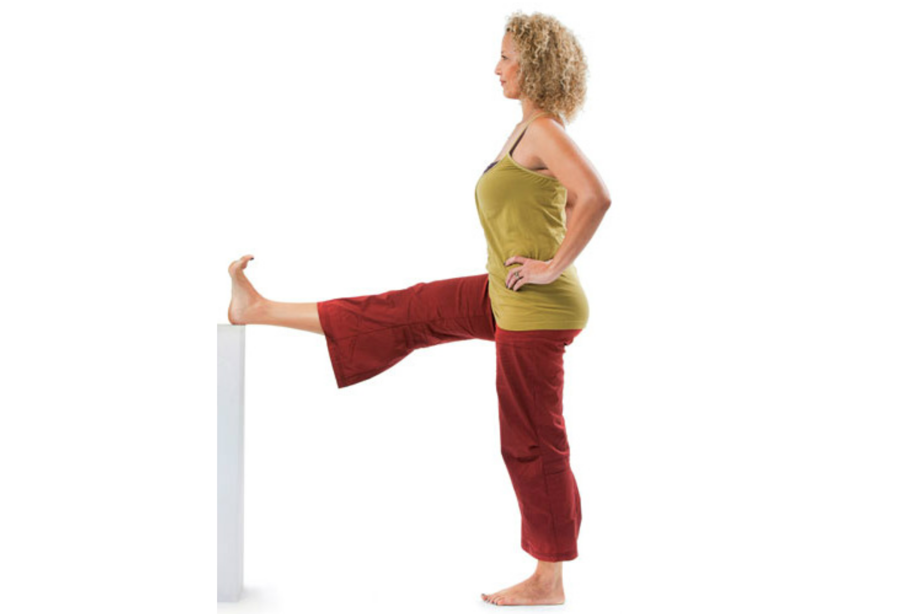 Utthita Hasta Padangusthasana, hand to toe pose, yoga with props, sequence for healthy hips and knees