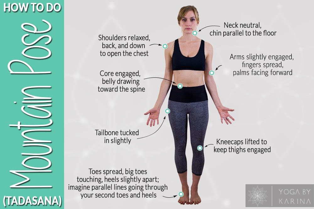 Tadasana, Mountain Pose, foundation pose, beginners yoga, yoga for improved posture, cues in yoga