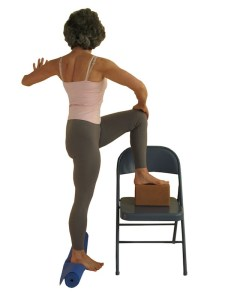 Twist with Chair, Gentle twist, yoga props, yoga for Osteoporosis