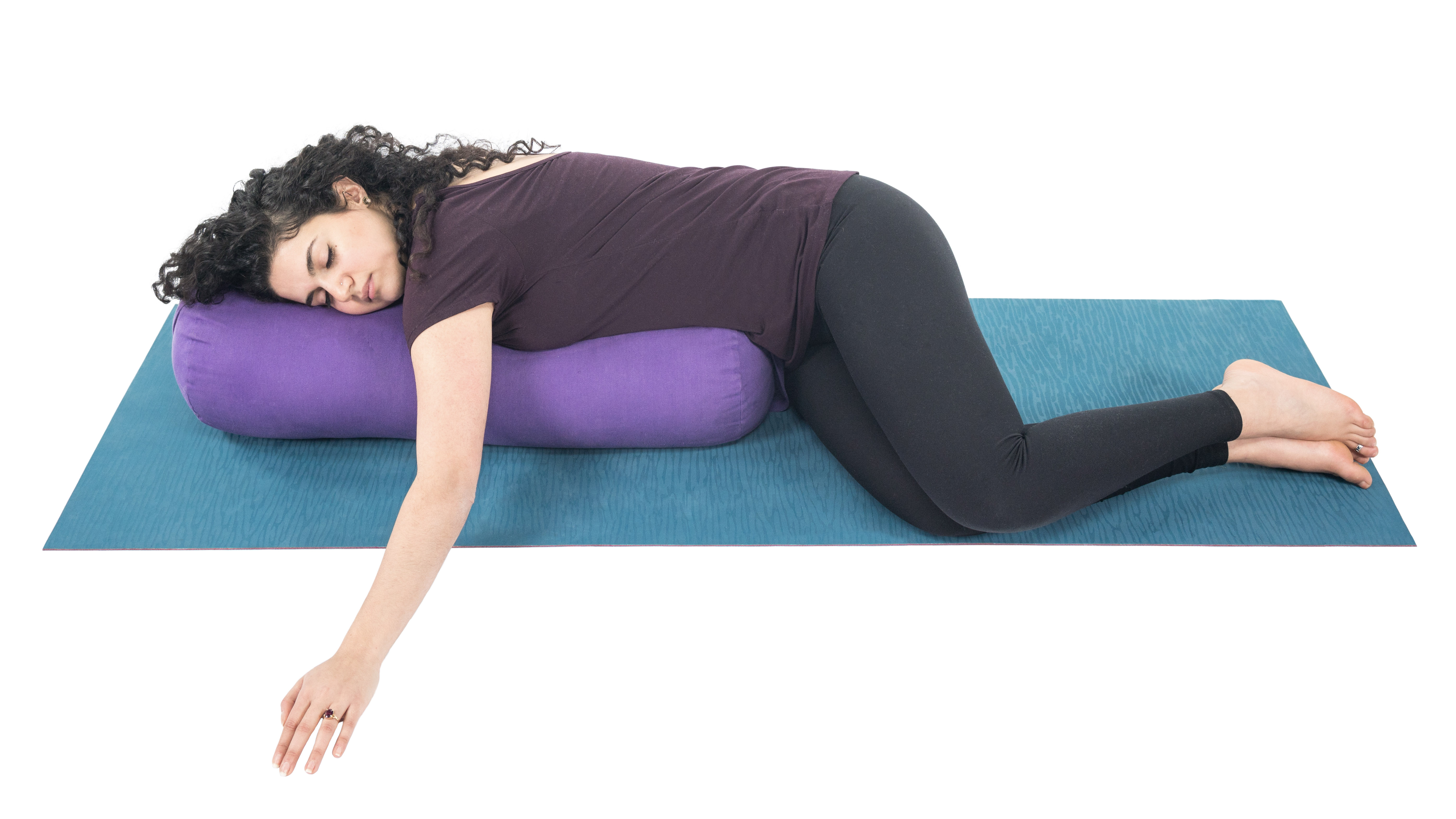 Restorative twist, yoga with props, rest and restore, pain relief, deep rest