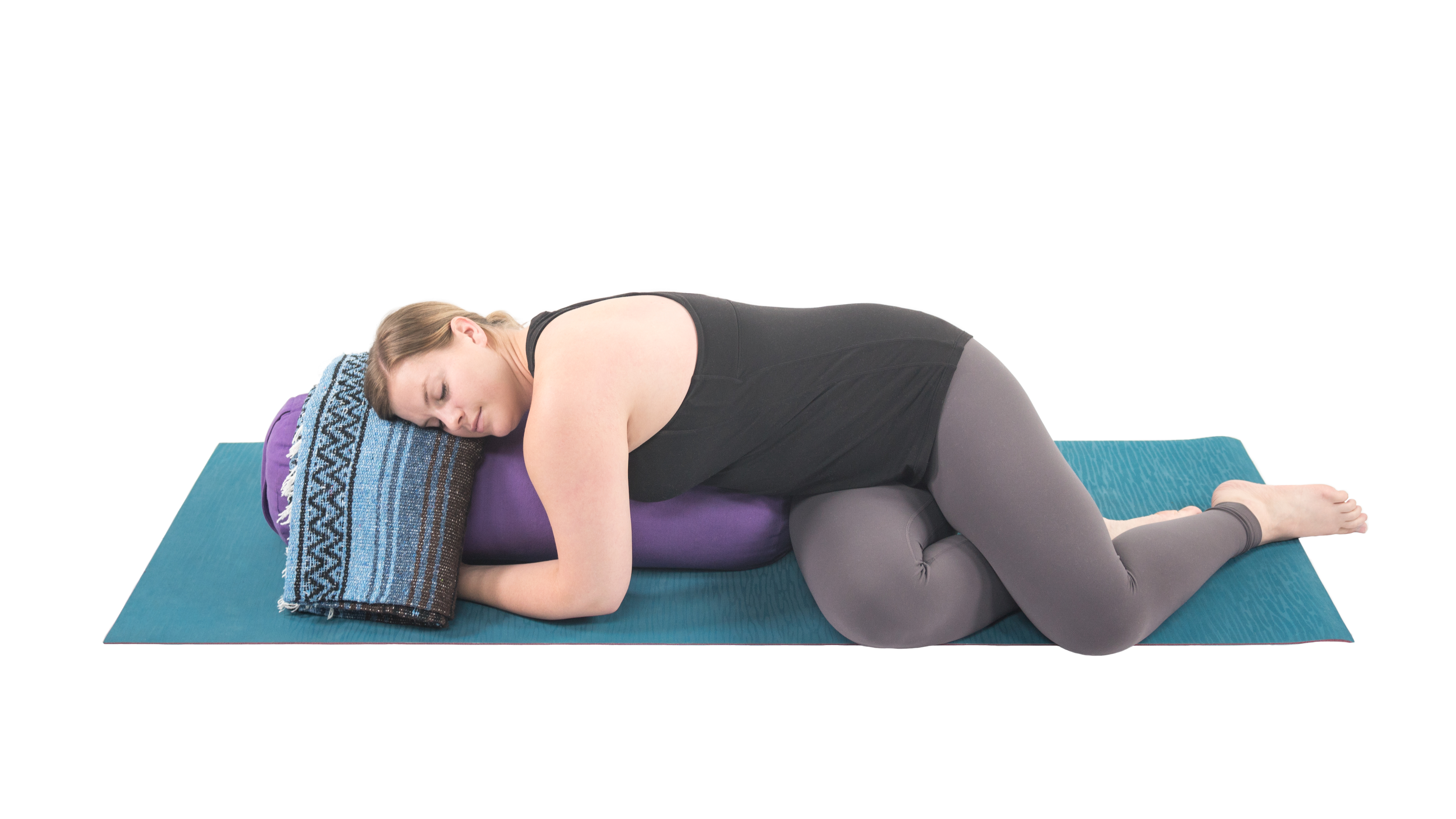 Restorative Twist, yoga with props, yoga to rest and restore, yoga for morning and evening