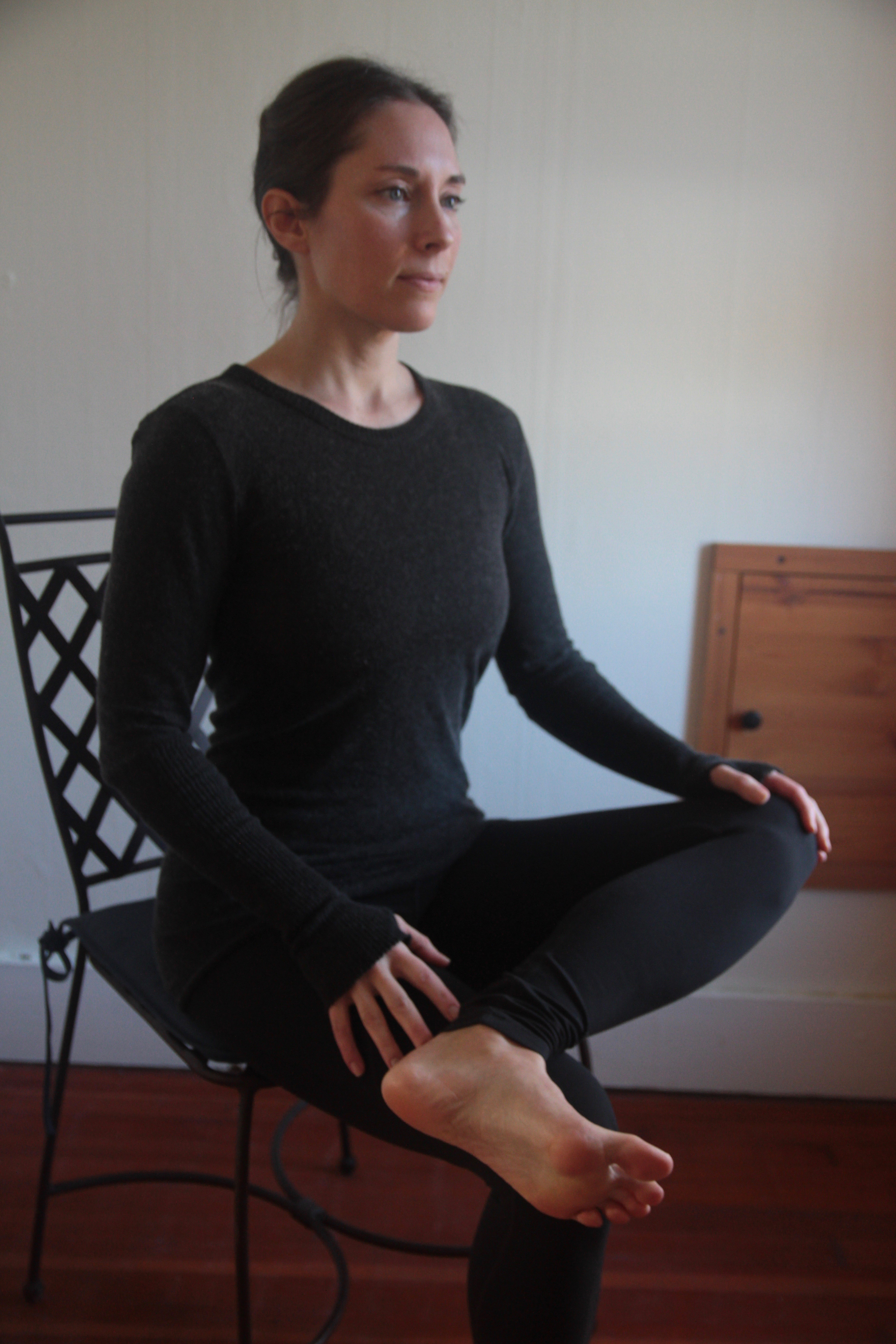 Pigeon Pose, chair yoga, yoga at the office, stress release yoga, beginner's yoga