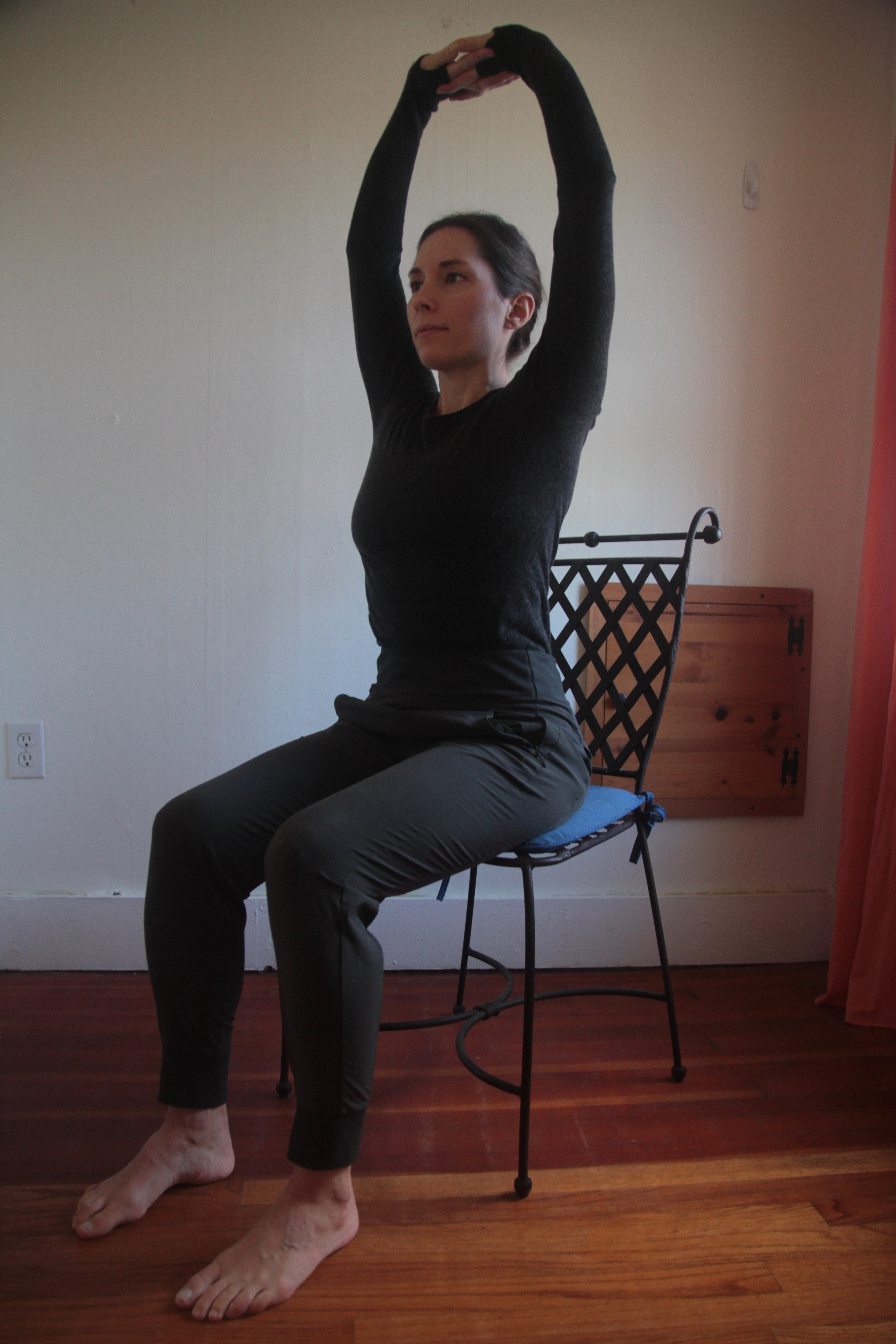 Shoulder shrugs, at your desk yoga, seated yoga, beginner's yoga, yoga at work, loosen tight muscles