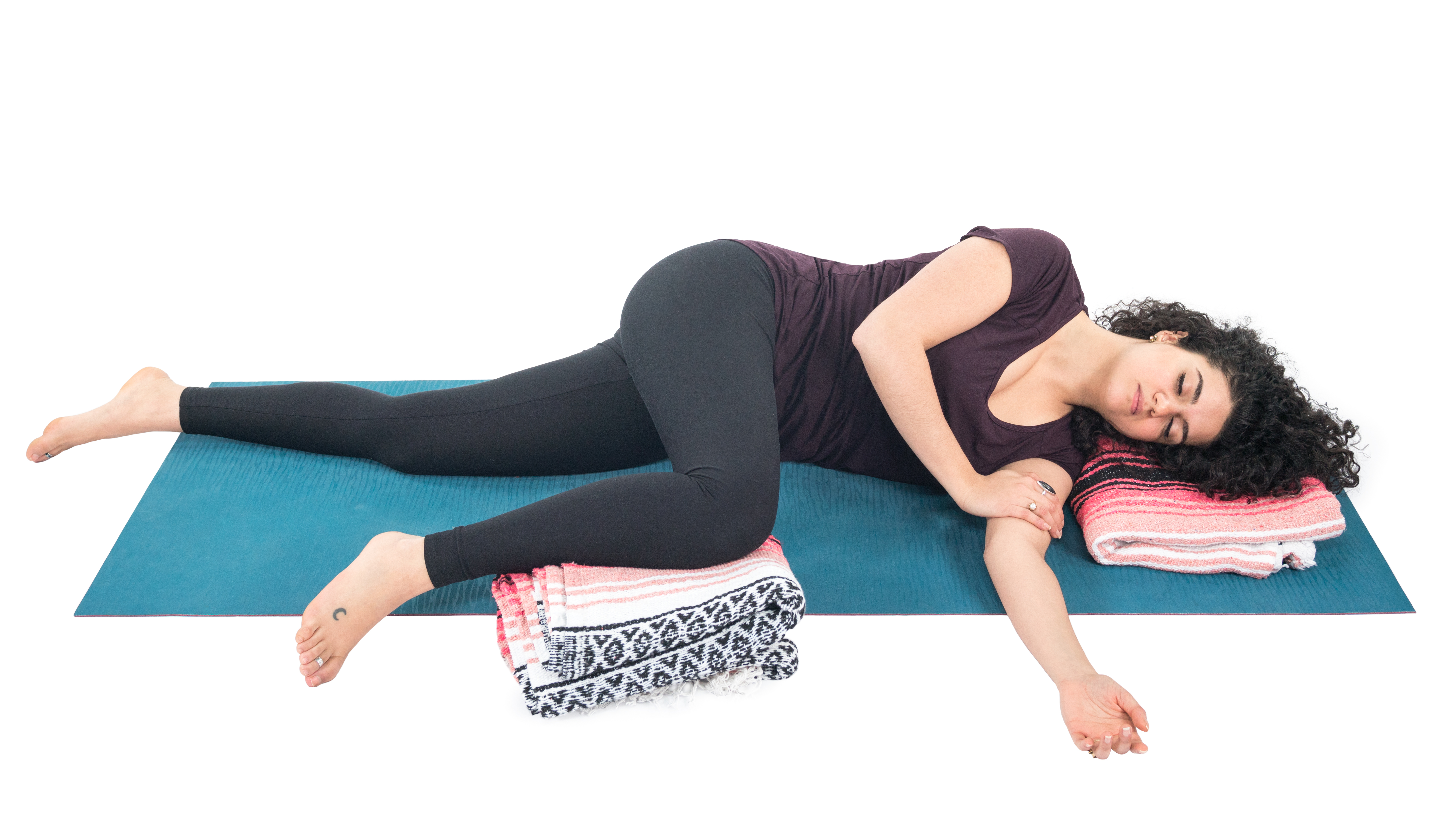 Side Lying Restorative, Restorative yoga, yoga for rest and relaxation