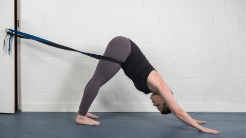 3-part yoga practice with ropes to help strengthen and relieve the back in Downward facing dog pose