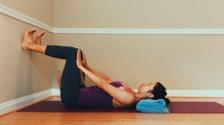 woman practicing yoga for diastasis recti