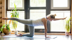 woman doing yoga, chakravakasana (bird-dog pose) for core strengthening instead of crunches