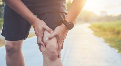 Injury from workout - knee pain depicted