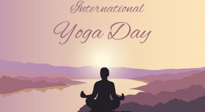Yoga Day background. Woman on a hill in Lotus pose outside at sunset