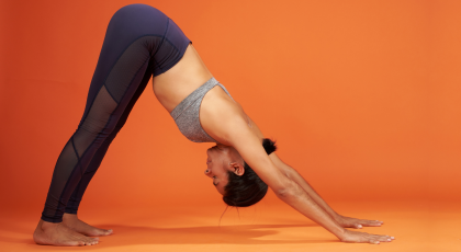 How to practice Downward Facing Dog Pose (Sanskrit name: Adho Mukha Svanasana) to warm up the body