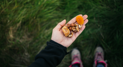 Woman's hand holding nuts and dried fruits.
