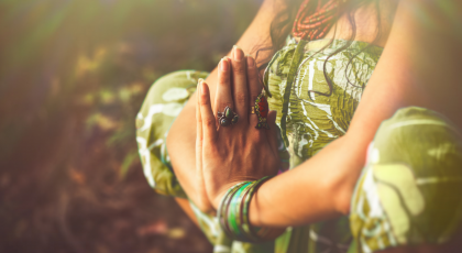 woman in prayer or meditation, energy anatomy, chakras, mudras