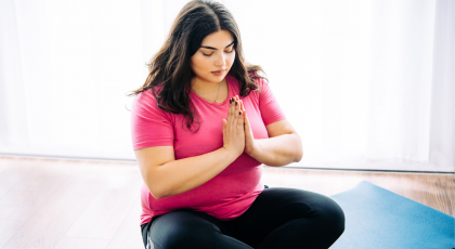 woman practicing yogic meditation