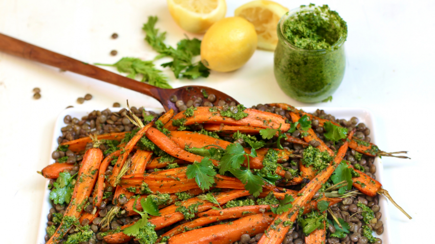Lentils and Carrots with pesto