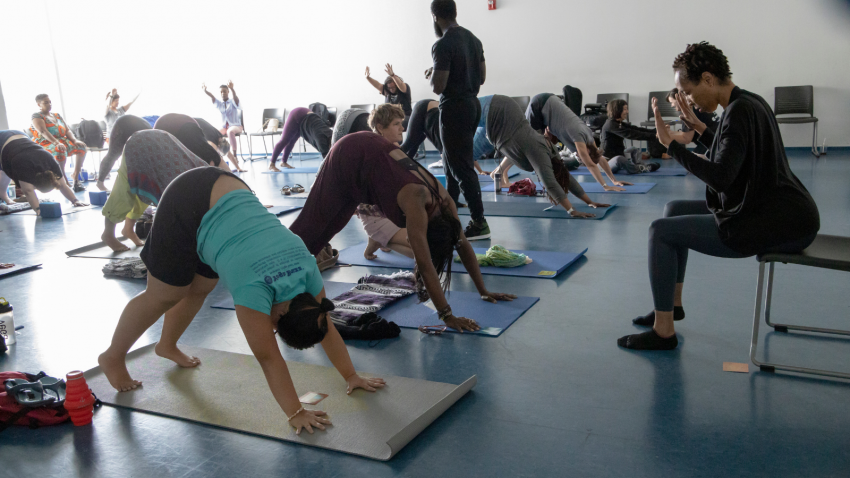 Teaching mixed level yoga class, pose variations, yoga props, accessible yoga, yoga for everybody