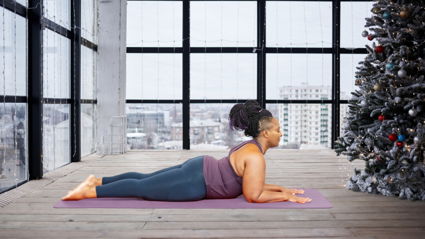 How to optimize your holidays with self care and simple yoga practice in Sphinx Pose