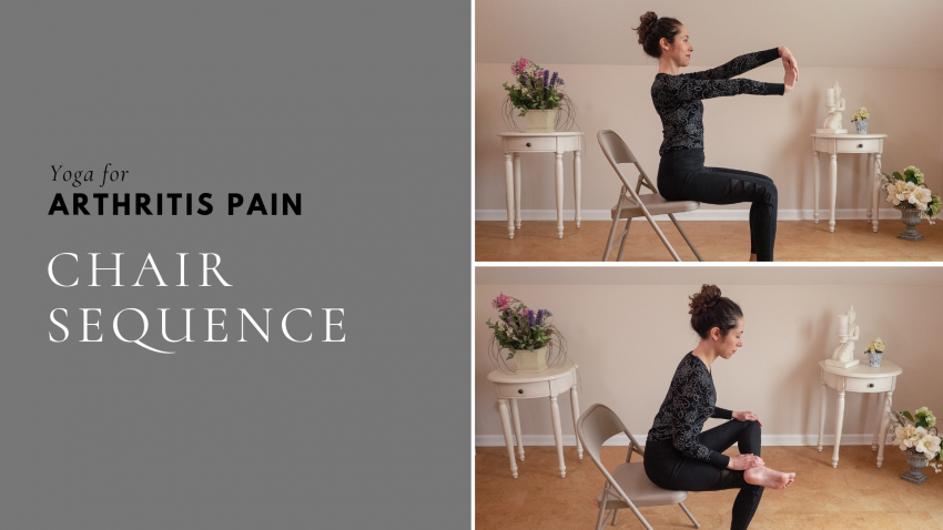 Woman Practicing A Chair Yoga Sequence for Arthritis: Increase Mobility and Decrease Pain
