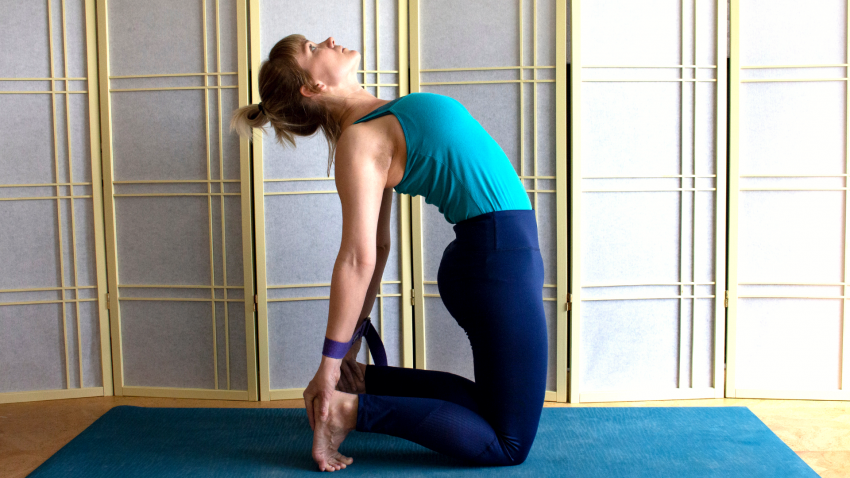yoga pose variations with props for ustrasana back bend